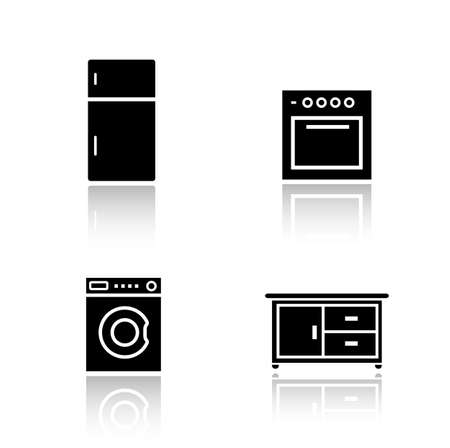 black appliances: Kitchen appliances drop shadow icons set. Fridge and oven black cast shadow silhouette illustrations isolated on white. Washing machine and cooking table. Household items. Vector infographics elements