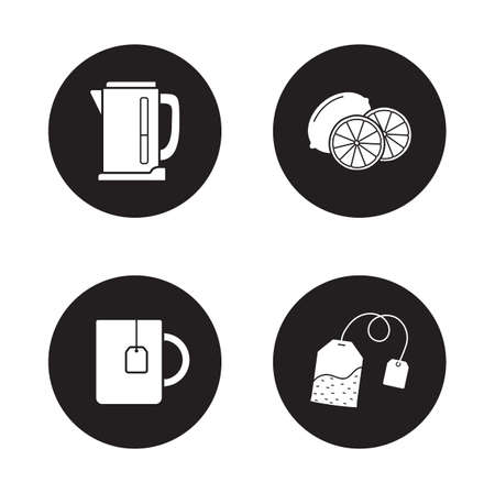electric tea kettle: Tea icons set. Cup with hanging teabag and sliced lemon white silhouettes round illustrations. Household tea appliances items. Electric kettle monochrome symbol. Vector infographics elements