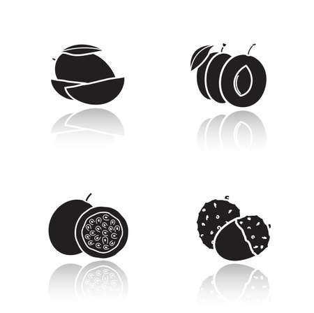 web cast: Sliced fruits drop shadow icons set. Cutted mango and plum with leaves. Black cast shadow silhouettes illustrations isolated on white. Tropical passion fruit and lychee vector infographics elements
