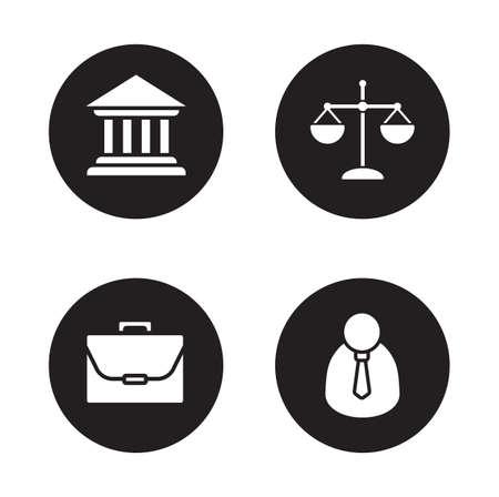 jurisprudencia: Iconos negros de abogados. Juzgado y escalas de los s�mbolos de c�rculo justicia. Jurisprudencia y sistema de gobierno. Abogado y ilustraciones silueta blanco Malet�n. Judiciales y juristas pictogramas. Vector