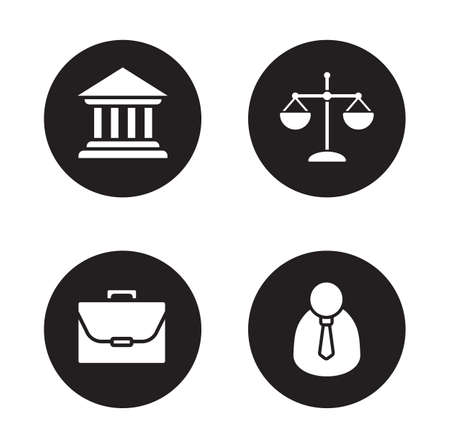 Law black icons set. Courthouse and scales of justice circle symbols. Jurisprudence and government system. Lawyer and briefcase white silhouette illustrations. Court and jurist pictograms. Vector