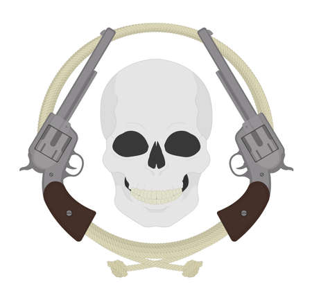 Skull with two revolvers and lasso emblem. Wild west dead bandit clip art. Smiling skeleton head with two pistols in lariat circle. Western outlaw banner. Vector color illustration isolated on white