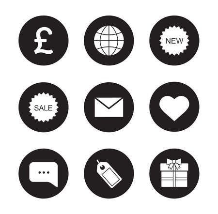 chat bubble vector: Web store black icons set. Internet marketing and e-commerce round symbol. Price tag and gift box. Online shop white silhouettes illustrations. Sale badge and chat bubble. Vector infographics elements