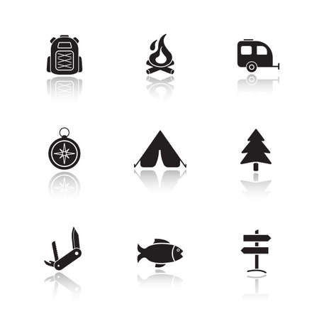 campground: Campground equipment drop shadow icons set. Outdoor recreation items. Black cast shadow silhouette camping illustrations isolated on white. Forest picnic with campfire. Vector infographics elements Illustration