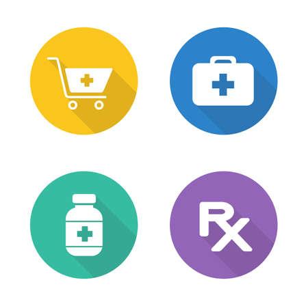 establecen farmacia iconos de diseño plano. símbolos circulares médico y farmacéutico. Los medicamentos con receta y botiquín. Píldoras de la medicina botella ilustración silueta blanca. Infografía elementos vectoriales