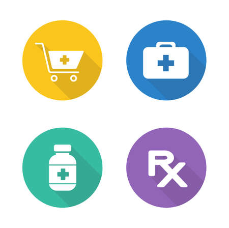 symbol: Pharmacy flat design icons set. Medical and pharmaceutical round symbols. Prescription drugs and medicine chest. Medicine pills bottle white silhouette illustration. Vector infographics elements