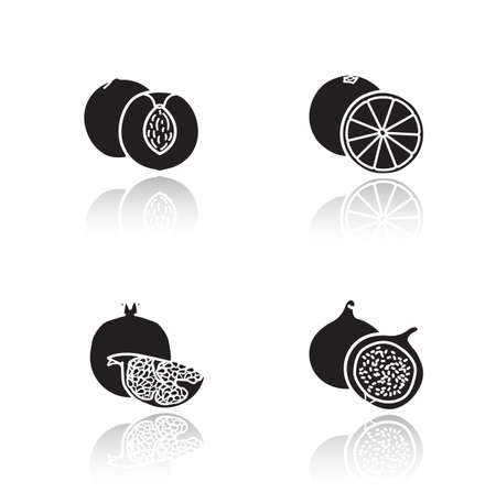 cuted: Fruits drop shadow icons set. Half sliced apricot and pomegranate with seeds. Sweet summer fruits. Cut into pieces orange and fig glossy symbols. Black cast shadow silhouettes illustrations. Vector Illustration