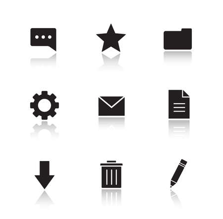 cast: File manager drop shadow icons set. Work organizer app interface buttons. Black cast shadow silhouettes illustrations. Data organization and media management symbols. Vector infographics elements