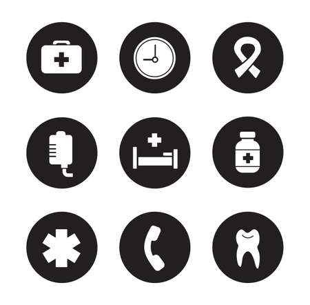 star of life: Hospital black icons set. Medical healthcare center. White silhouettes illustrations. First aid medicine chest and drop counter circle symbols. Ambulance star of life and aids ribbon signs. Vector