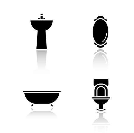 wall mirror: Bathroom interior drop shadow icons set. House restroom design items. Black cast shadow isolated silhouettes illustrations. Bath and wall mirror. Toilet and washbasin. Vector infographics elements Illustration