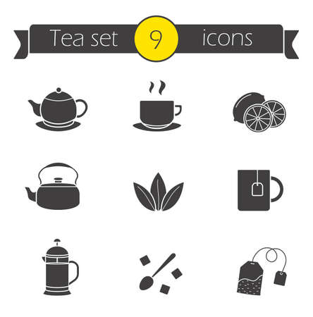 french cafe: Tea silhouettes icons set. Cafe hot drinks menu illustrations. Black and green tea with sliced lemon. French press teapot black symbols. Sugar cubes with spoon. Teacup with hanging teabag. Vector Illustration