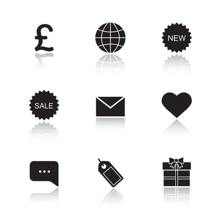 web cast: Web store drop shadow icons set. Online shop black silhouette cast shadow illustrations. Internet marketing and e-commerce glossy symbols. New and sale badge. Price tag and gift box pictograms. Vector