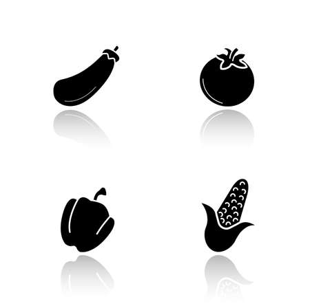 bell tomato: Vegetables drop shadow icons set. Vegetarian healthy salad ingredients. Raw eggplant and fresh tomato glossy symbols. Bell pepper and corn black cast shadow silhouettes illustrations. Vector