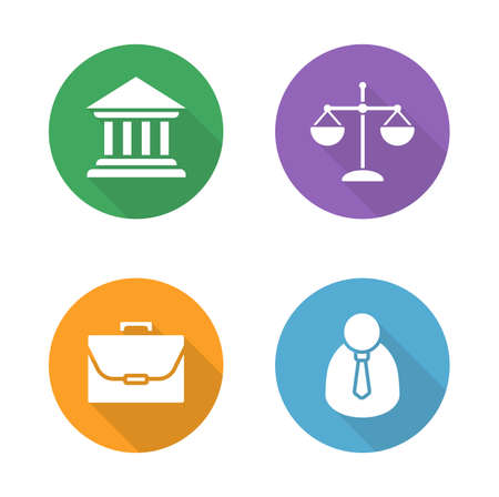 advocate: Law flat design icons set. Courthouse and scales of justice round symbols. Jurisprudence and government system. Lawyer and briefcase white silhouette illustrations. Vector infographics elements