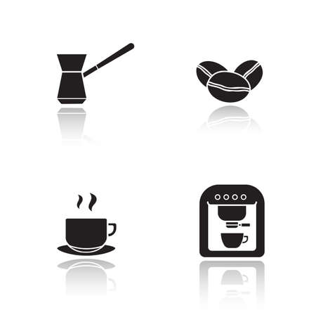 black appliances: Coffee appliances drop shadow icons set. Turkish cezve and roasted coffee beans glossy symbols. Espresso machine and steaming cup emblems. Black cast shadow silhouette illustrations. Vector