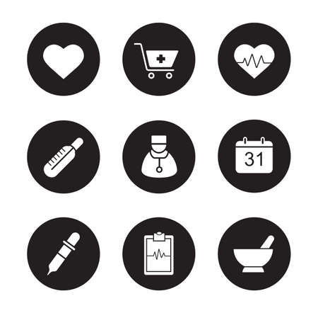pharmacy store: Medical black icons set. Hospital cardiology center. Thermometer and doctor white silhouettes illustrations. Cardiogram and heartbeat symbols. Pharmacy store and alternative medicine herbs. Vector