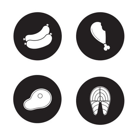 grilled salmon: Barbecue meat black icons set. Beef steak and fried chicken leg round symbols. Grilled salmon fish fillet and sausages. White silhouette illustrations isolated on circles. Vector infographics elements
