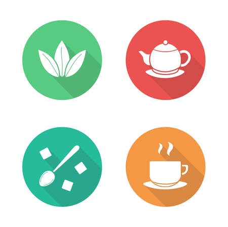sugar spoon: Tea flat design icons set. Green tea leaves and hot teapot white silhouette illustrations on color circles. Sugar cubes with spoon and steaming teacup round symbols. Vector infographics elements