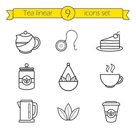 Tea accessories linear icons set. Green tea leaves on balance scales thin line drawings. Piece of cake and take away tea in paper cup outline symbols. Tea ball and herbs jar. Vector illustrations