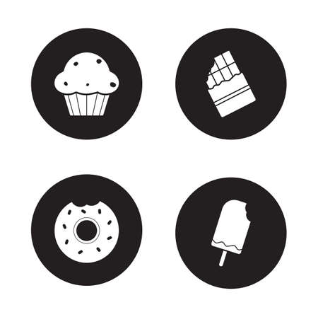 ice cream bar: Confectionery icons set. Sweets white silhouette illustrations on black circle. Unhealthy food. Bitten glazed donut and ice cream. Wrapped chocolate bar and muffin. Vector infographics elements Illustration