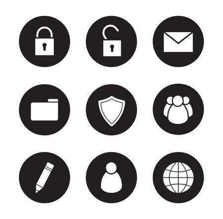 file sharing: File manager black icons set. Data storage user interface buttons. White silhouettes illustrations. Media server ui circle symbols. Community and personal signs. File sharing cloud service. Vector