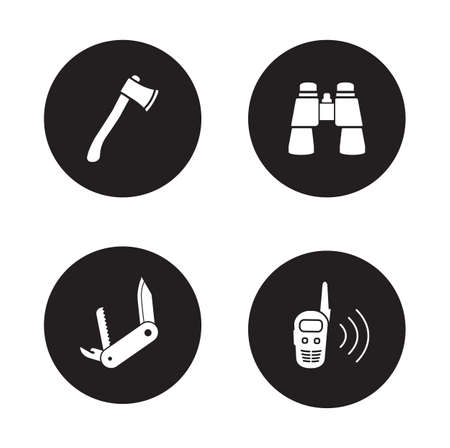 2 way: Survival equipment black icon set. Hiking and camping tools. Multifunction pocket knife and 2 way radio. Binoculars and ax circle symbols. Travel and expedition white silhouettes illustrations. Vector