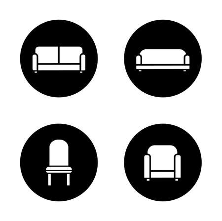 furnishing: Soft furniture black icons set. Home interior upholstery items. Long sofa and upholstered couch. Living room furnishing. Round white silhouettes illustrations. Vector isolated infographics elements Illustration