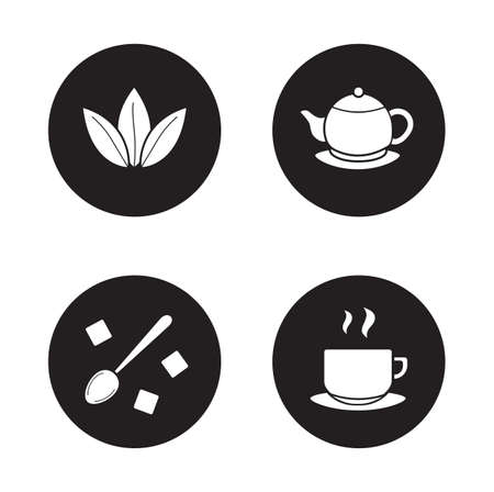 sugar spoon: Tea items simple icons set. Green tea leaves and steaming teacup white silhouettes illustrations on black circles. Spoon with sugar cubes and classic teapot round symbols. Vector infographics elements