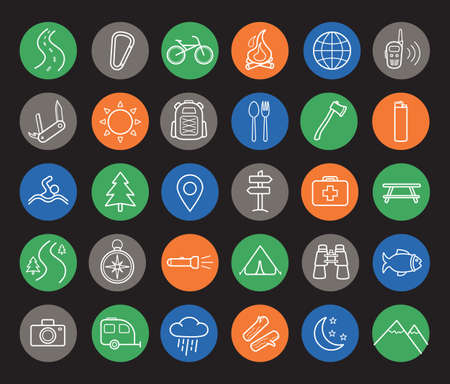 mountaineering: Camping and travel linear icons set. Mountaineering equipment items. White thin line art illustrations on color circles. Hiking and trekking round outline symbols. Vector infographics elements Illustration