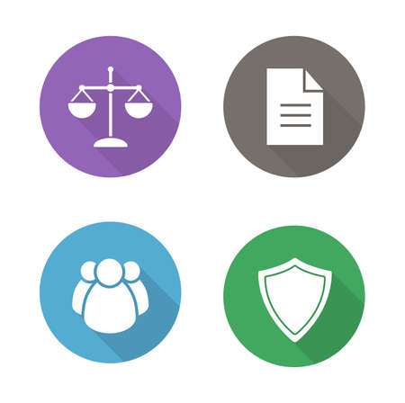 jurisprudence: Lawyer flat design icons. Jurisprudence and law white silhouette illustrations on color circles. Scale of justice and court jury round symbols. Shield and document icons. Vector infographics elements