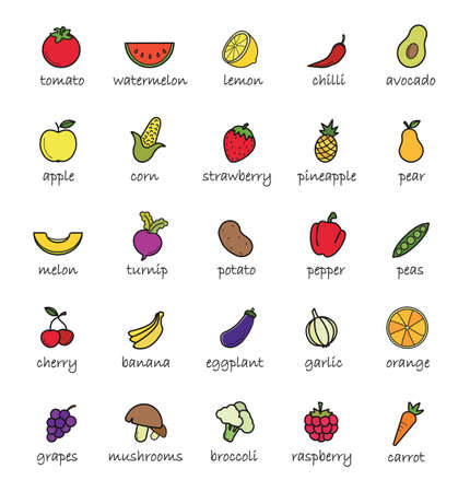 yellow apple: Fruits and vegetables color icons. Healthy vegetarians food. Mushrooms and berries colorful isolated illustrations with names. Yellow apple and red pepper. Sliced orange and cut in half avocado Illustration