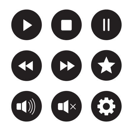 Multimedia black icons set. Audio and video player user interface buttons. White silhouettes illustrations. Digital sound  control ui round symbols. Website music player circle pictograms. Vector Illustration