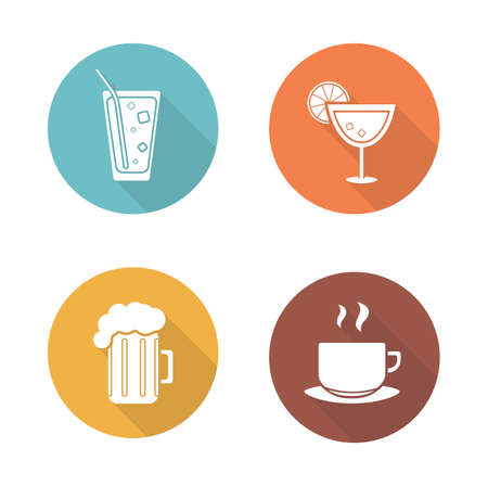 Drinks flat design icons set. Cocktail and glass of beer round long shadow symbols. Soda drink with straw and hot tea cup. White silhouette illustrations on color circles. Vector infographics elements
