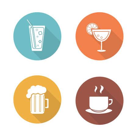 establecen bebidas de los iconos de diseño de planos. Cóctel y vaso de cerveza ronda largos símbolos sombra. Bebida de la soda con la paja y la taza de té caliente. ilustraciones siluetas blancas en los círculos de color. Infografía elementos vectoriales