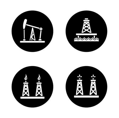 platforms: Oil industry black icons set. Gas and fuel production platforms. Petroleum offshore sea well circle symbol. White silhouettes illustrations. Vector infographics elements Illustration