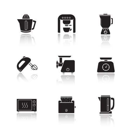 meat  grinder: Kitchen electronics drop shadow icons set. Kitchenware electric appliances items. Consumer household cooking devices. Black silhouette illustrations isolated on white. Vector infographics elements Illustration