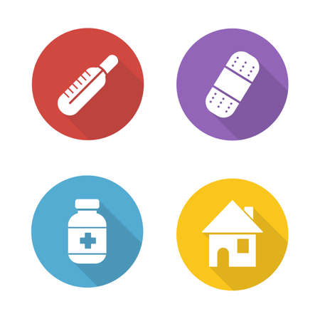 bandaid: Medical treatment flat design icons set. Fever symbol with red thermometer. Bandaid and medication pills bottle. White silhouette illustrations on color circles. Vector infographics elements