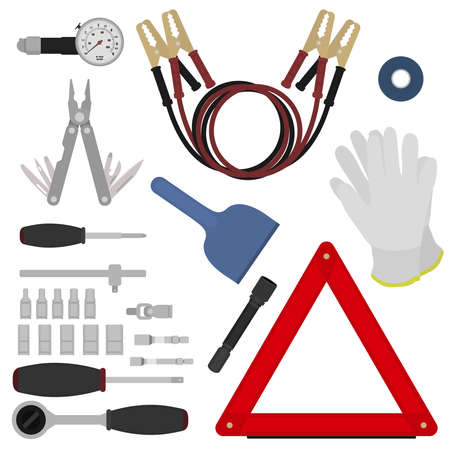 emergency: Emergency road kit items set. Car service and repairing equipment. Auto mechanic tools. Ice scraper and jumper cables. Triangle warning sign and flashlight. Vector isolated illustrations. Color Illustration