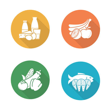 Food flat design icons set. Dairy milk products and vegetables long shadow symbols. Salmon fish fillet and fruits silhouette illustrations on color circles. Diet nutrition. Vector infographics element Vettoriali