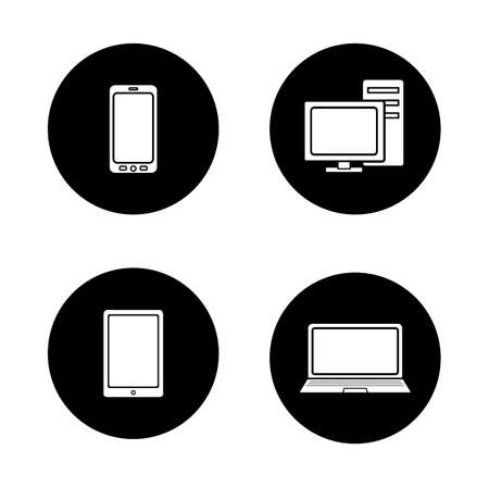 consumer electronics: Consumer electronics black icons set. Laptop and desktop computer with monitor white silhouettes illustrations. Smartphone and portable tablet pc circle symbols. Modern digital gadgets. Vector