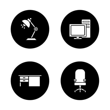 furniture computer: Office interior black icons set. Workspace design furniture and desktop electronics items. Computer wheelchair round symbol. White silhouettes illustrations. Vector isolated  infographics elements Illustration