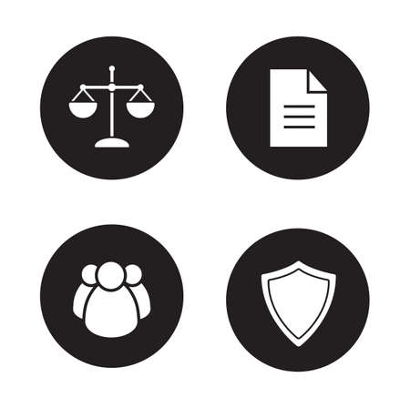 jurisprudence: Jurisprudence and law black icons set. Lawyer white silhouettes illustrations. Scale of justice and court jury circle symbols. Protection shield and agreement document. Vector infographics elements Illustration