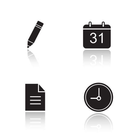 cast: Organizer drop shadow icons set. Time management app interface. Day planning application. Pencil and calendar glossy symbols. Clock and new document black cast shadow silhouettes illustrations. Vector Illustration