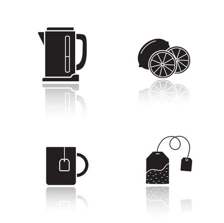 cast: Tea equipment drop shadow icons set. Electric kettle and mug with hanging teabag. Cast shadow silhouettes illustrations isolated on white.Tea bag and sliced lemon. Vector infographics elements