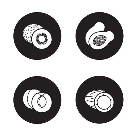 exotic fruits: Fruits black icons set. Tropical exotic fruits white silhouettes illustrations on black circles. Cracked coconut and cut in half peach with seed. Sliced papaya and kiwi. Vector infographics elements