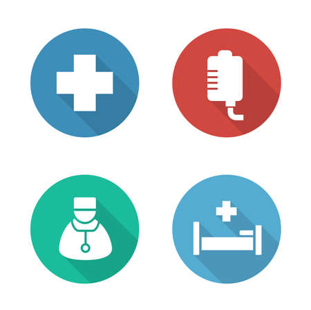 hospital icon: Hospital flat design icons set. Medical drop counter and doctor white silhouette illustrations on color circles. Hospitalization and first aid clinic round symbols. Vector infographics elements