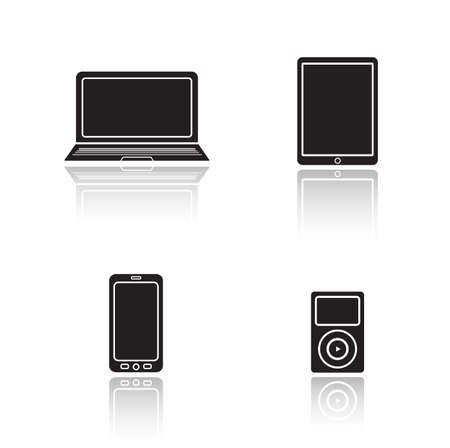 consumer electronics: Modern gadgets drop shadow icons set. Consumer electronics glossy symbols. Laptop and tablet pc black cast shadow silhouettes illustrations. Smartphone and mp3 music player. Vector multimedia devices