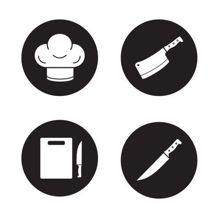big hat: Chef cooking tools black icons set. Chefs hat and meat cleaver circle symbols. Cutting board and big slicing knife. Restaurant kitchen items. White silhouettes illustrations. Vector pictograms