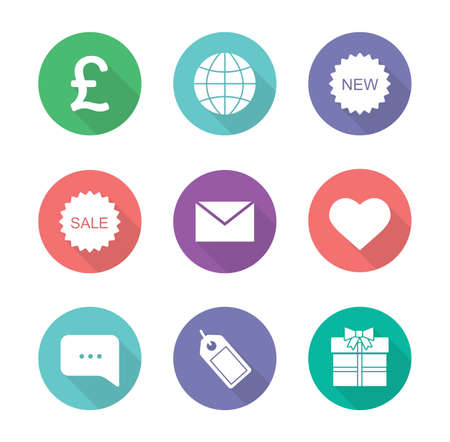 web cast: Online shop flat design icons set. Web store white silhouette illustrations on color circles.  Internet marketing and e-commerce round symbols. Gift box and chat bubble. Vector infographics elements