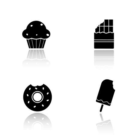 glazed: Sweets drop shadow icons set. Confectionery and bakery glossy symbols. Ice cream on stick and bitten glazed donuts. Muffin and chocolate bar. Black cast shadow silhouettes illustrations. Vector Illustration
